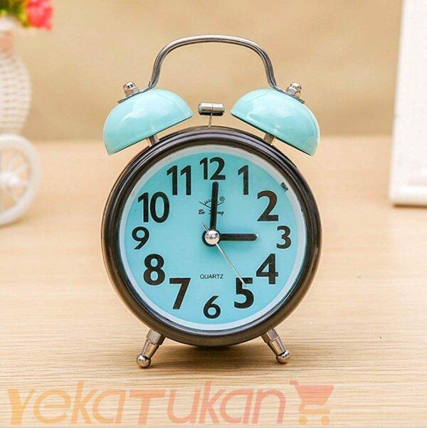 ساعت رومیزی زنگ دار صفحه رنگی مدل گرد آبی کم رنگ