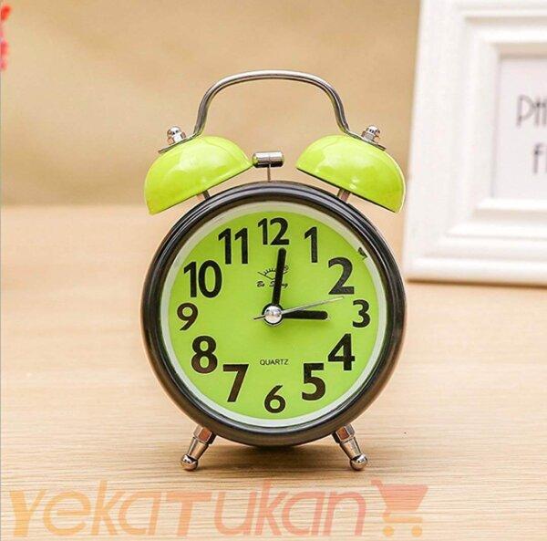 ساعت رومیزی زنگ دار صفحه رنگی مدل گرد سبز