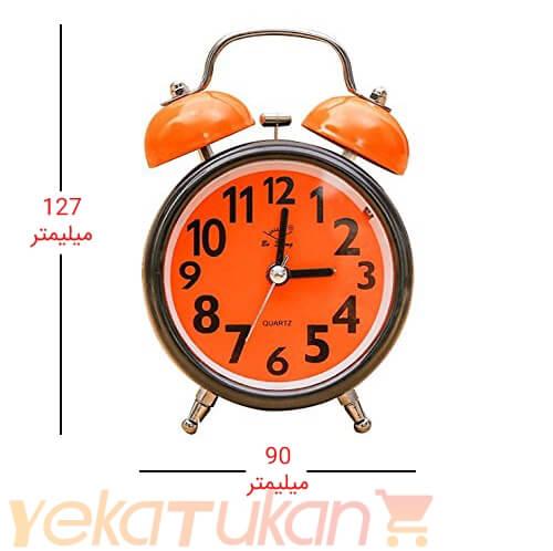 ساعت رومیزی زنگ دار صفحه رنگی مدل گرد نارنجی