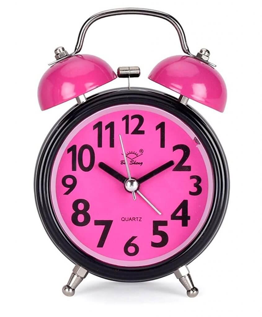 ساعت رومیزی زنگ دار صفحه رنگی مدل گرد صورتی