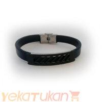 دستبند ترکیب چرم و استیل