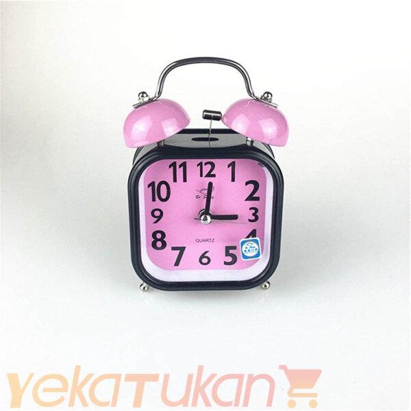 ساعت رومیزی زنگ دار صورتی