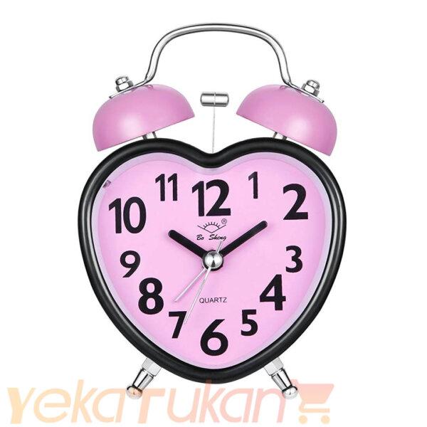 ساعت زنگ دار رومیزی صفحه صورتی روشن