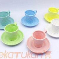 ست فنجان و نعلبکی 6 رنگ 6 تایی