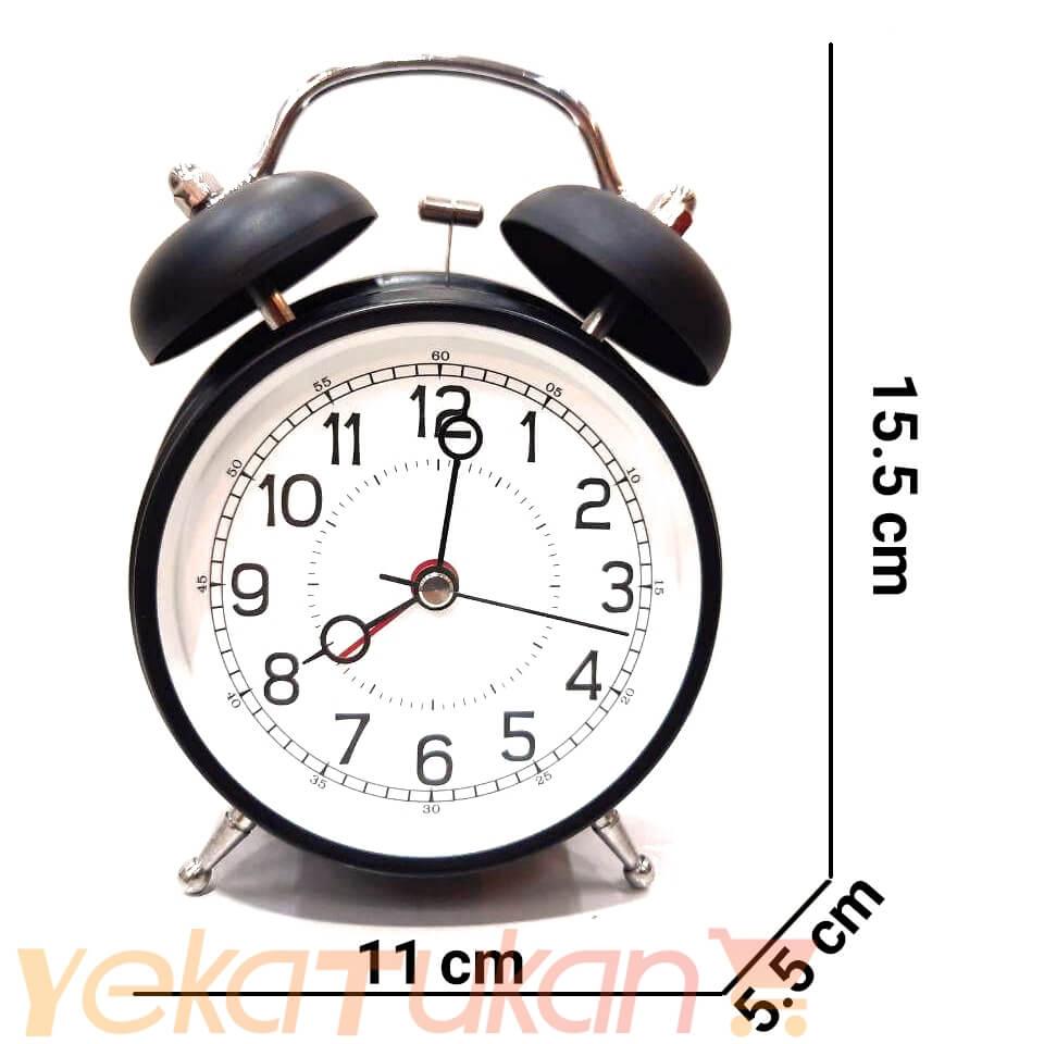 ساعت زنگ دار رومیزی گرد مشکی